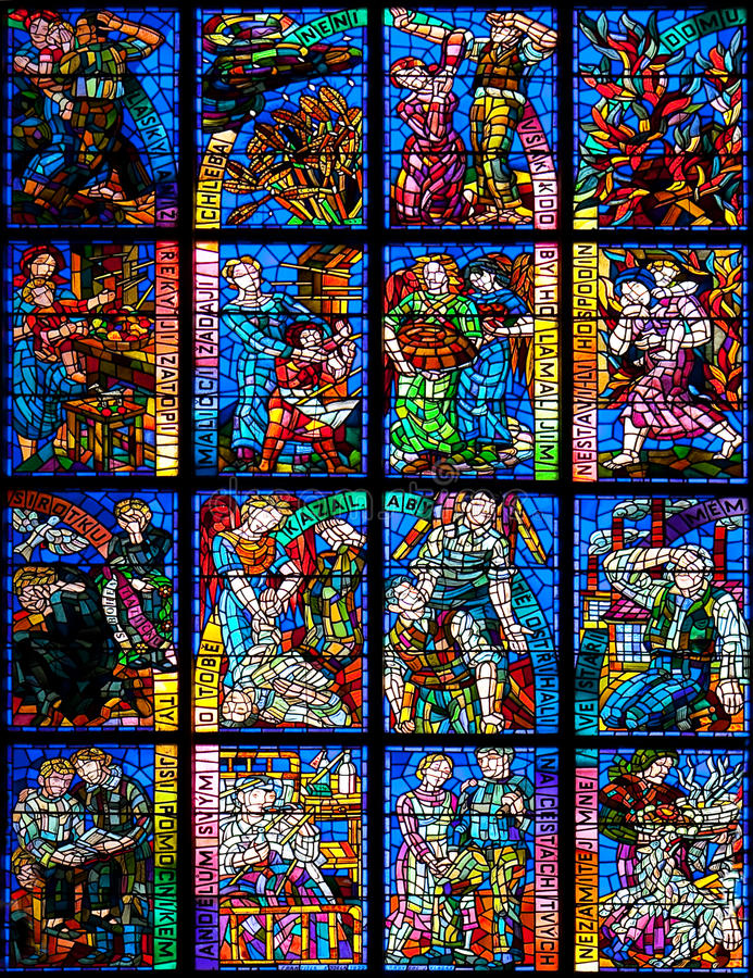 Stained glass ornament. Fragment of stained glass window in St.Vitus Cathedral in Prague, Czech Republic stock photography