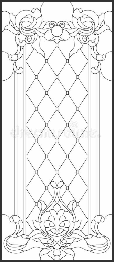 Stained-glass Panel In A Rectangular Frame. Decorative Design Of The ...