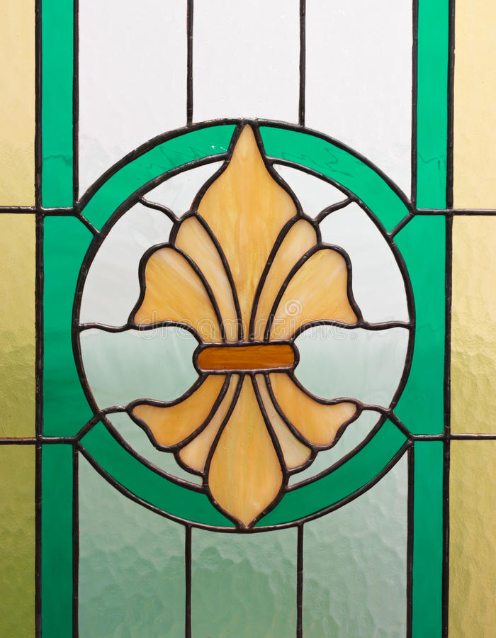 Stained glass. Particularly the craftsmanship of a stained glass window royalty free stock photography
