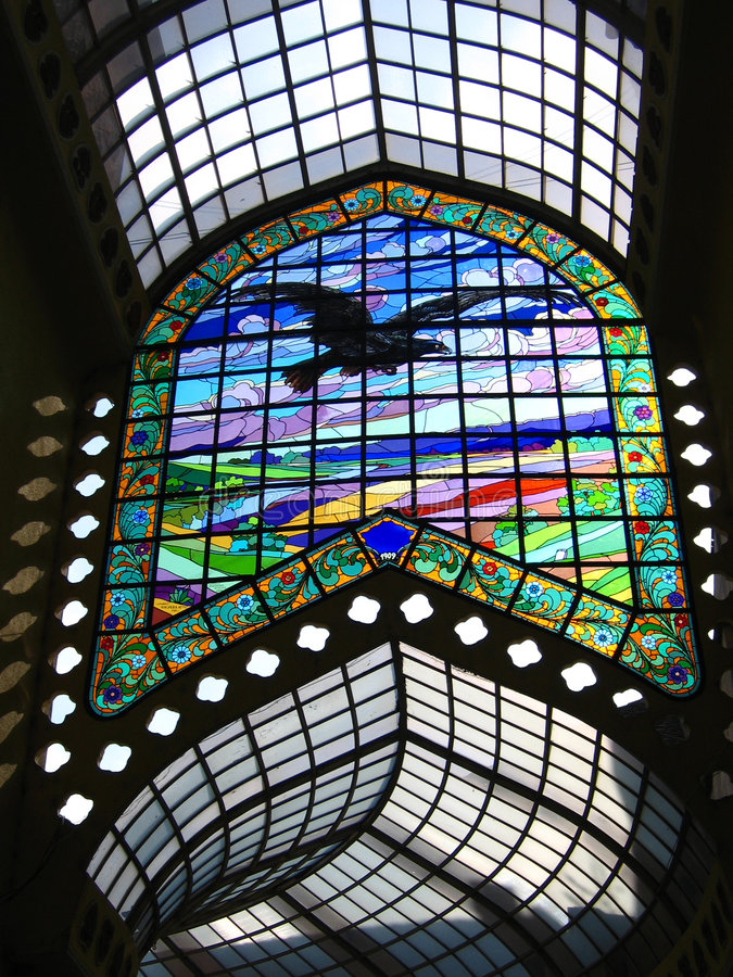 Stained Glass Passage - Black Eagle Hotel, Oradea, Romania. Stained glass passage in the Black Eagle Hotel (Vulturul Negru in Romanian Language) in central stock photography