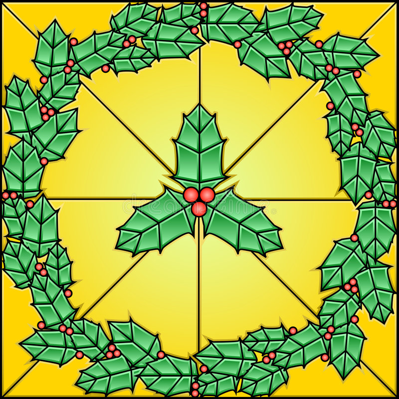 Stained Glass Pattern - Holly stock illustration