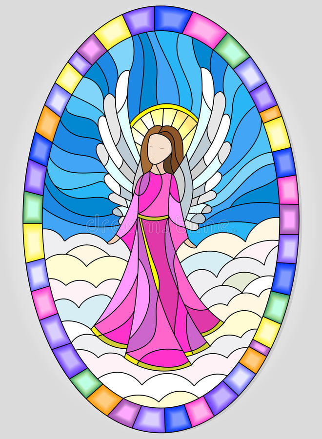 Stained glass picture in oval frame with angels vector illustration