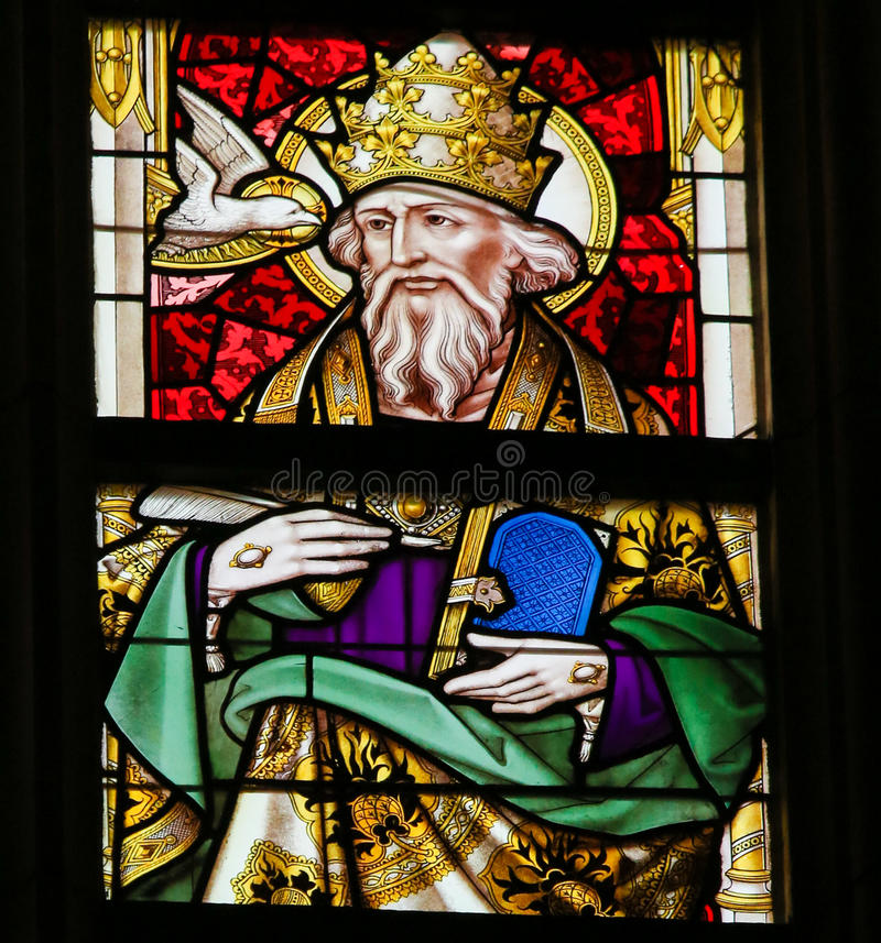 Stained Glass - Pope Saint Gregory I. Stained Glass window depicting Pope Saint Gregory I & x28;Gregorius I& x29;, commonly known as Saint Gregory the Great, in royalty free stock photos