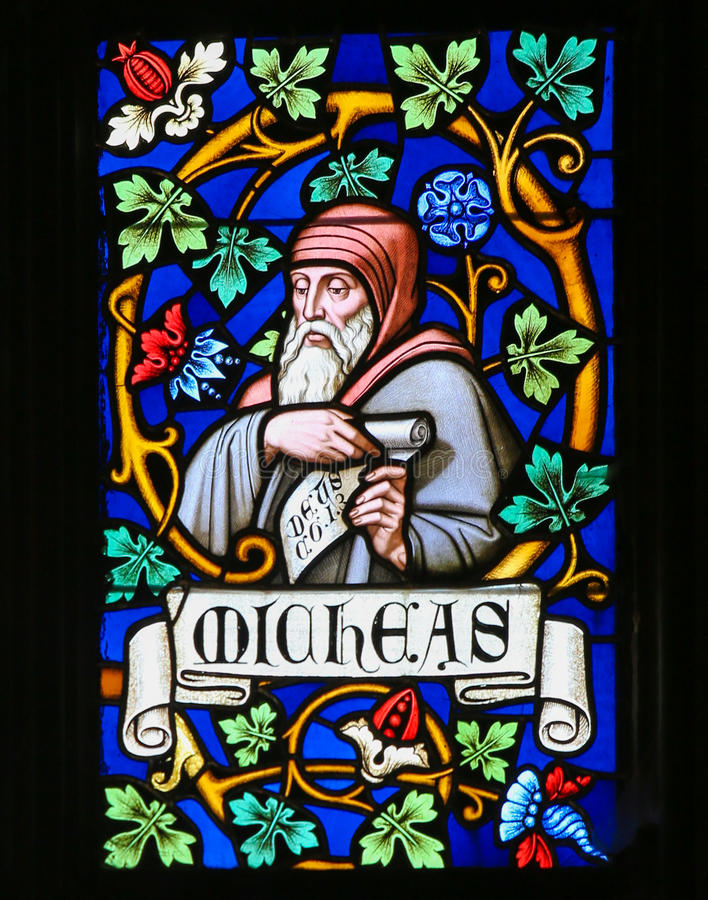 Stained Glass - The Prophet Micah. Stained Glass window in St. Vitus Cathedral, Prague, depicting Micah, a prophet from Judah and the author of the Book of Micah stock images