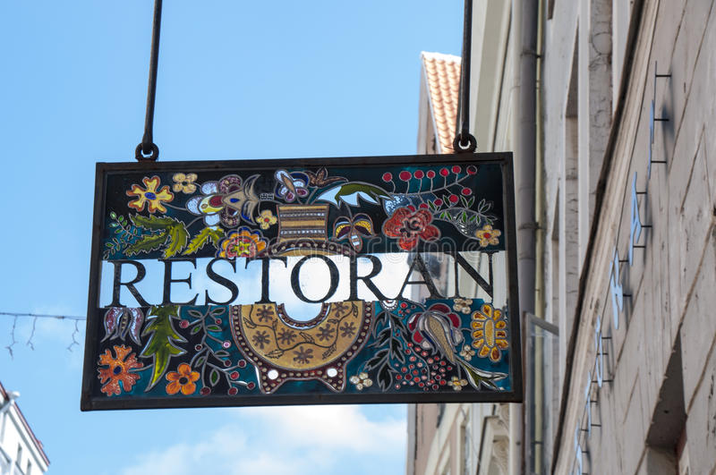 Download Stained Glass Restaurant Sign Stock Photo - Image: 31822184