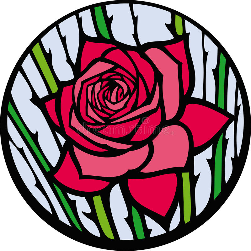 Stained-glass rose. stock illustration