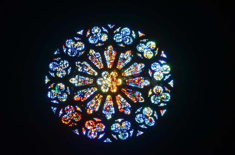 Stained Glass Rose Window. Complete view stock image