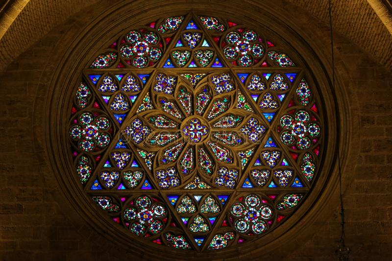 Stained Glass, Rose Window in Valencia Cathedral. Stained Glass Rose Window & x28;1354& x29; in Valencia Cathedral, Valencia, Spain. This window is called the royalty free stock images