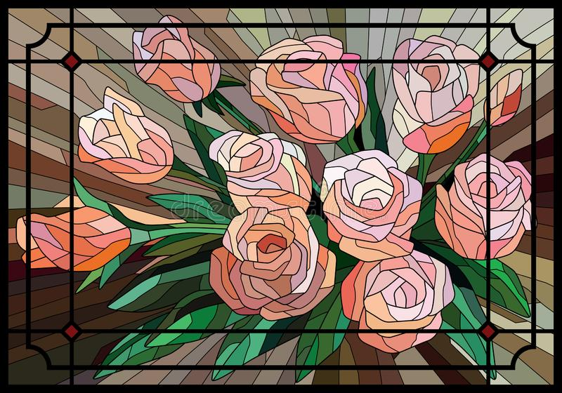 Stained Glass Roses on a brown background in the frame. Black lines. Vector full color graphics vector illustration