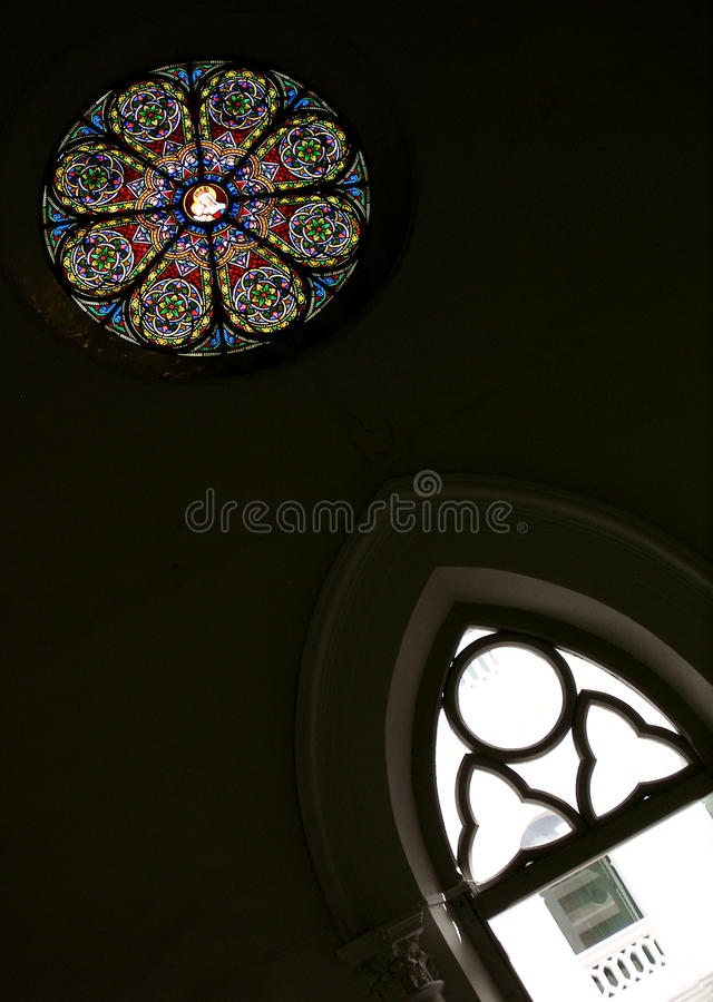 Free Stained Glass Round In Historical Church, Singapore Royalty Free Stock Photography - 49458717