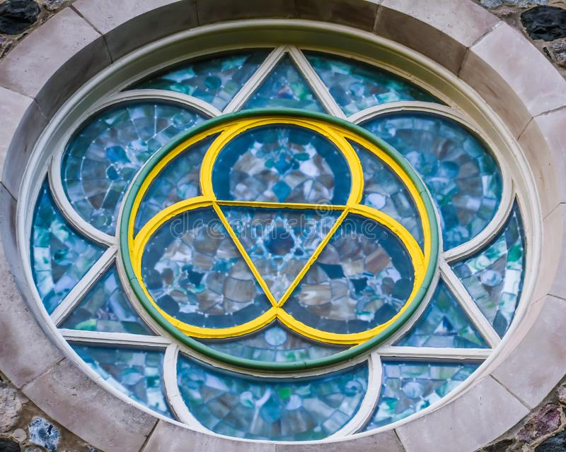 Stained Glass Round Window Design stock photo