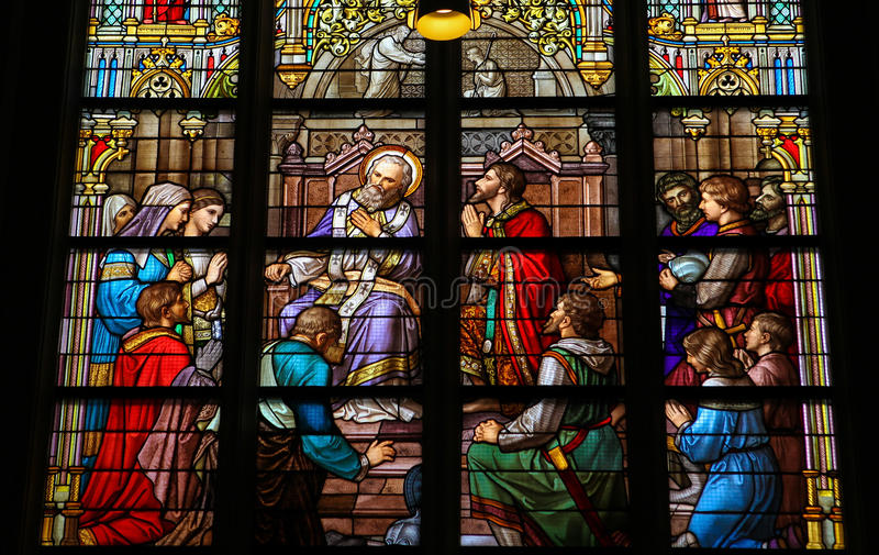 Stained Glass of The Sacrament of Confession in Den Bosch Cathed. Stained Glass Window depicting the Sacrament of Confession or Penance, with Pepin of Herstal royalty free stock photos