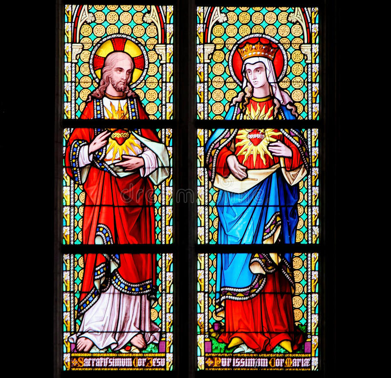 Stained Glass - Sacred Heart of Jesus and Most Pure Heart of Mar royalty free stock photo