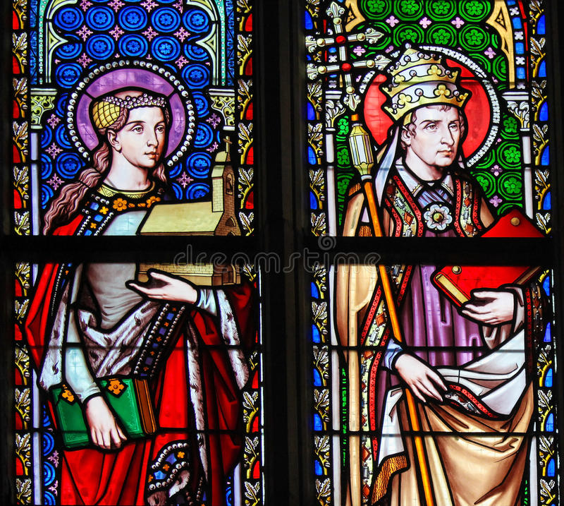 Stained Glass - Saint Isabelle of France and Pope Saint Leo the. Stained Glass in the Church of Our Blessed Lady of the Sablon in Brussels, Belgium, depicting stock photo
