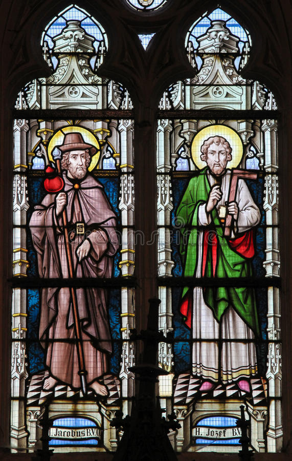 Stained Glass - Saint James and Saint Joseph. Stained glass window depicting Saint James and Saint Joseph in the Church of Stabroek, Belgium stock photo