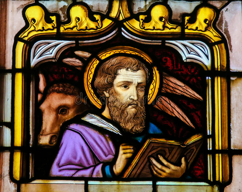 Stained Glass of the Saint Luke the Evangelist. Stained Glass window depicting Saint Luke the Evangelist, in the Cathedral of Saint Rumbold in Mechelen, Belgium stock photography