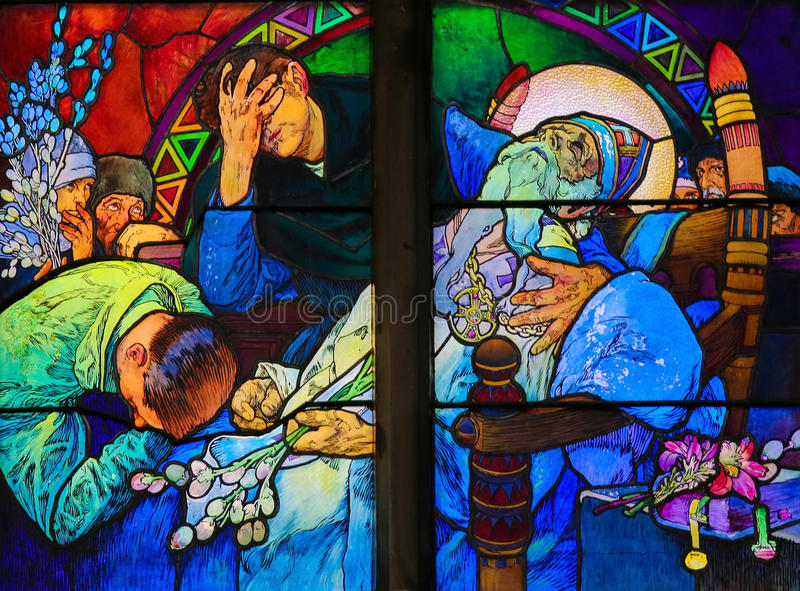 Stained Glass of Saint Methodius on his deathbed by Alphonse Muc stock photo