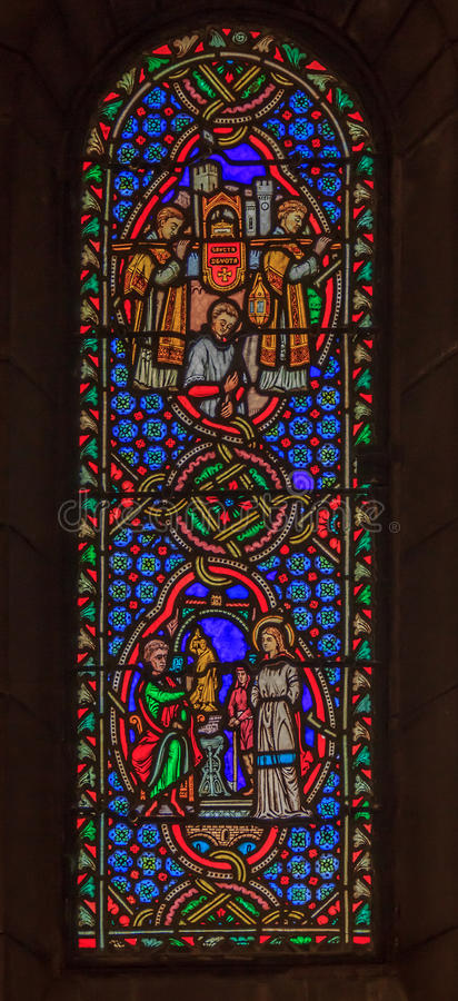 Stained Glass in Saint Nicholas Cathedral Monaco Ville. Stained glass window in the Saint Nicholas Cathedral in Monaco Ville, Monaco; romanesque Catholic royalty free stock photo
