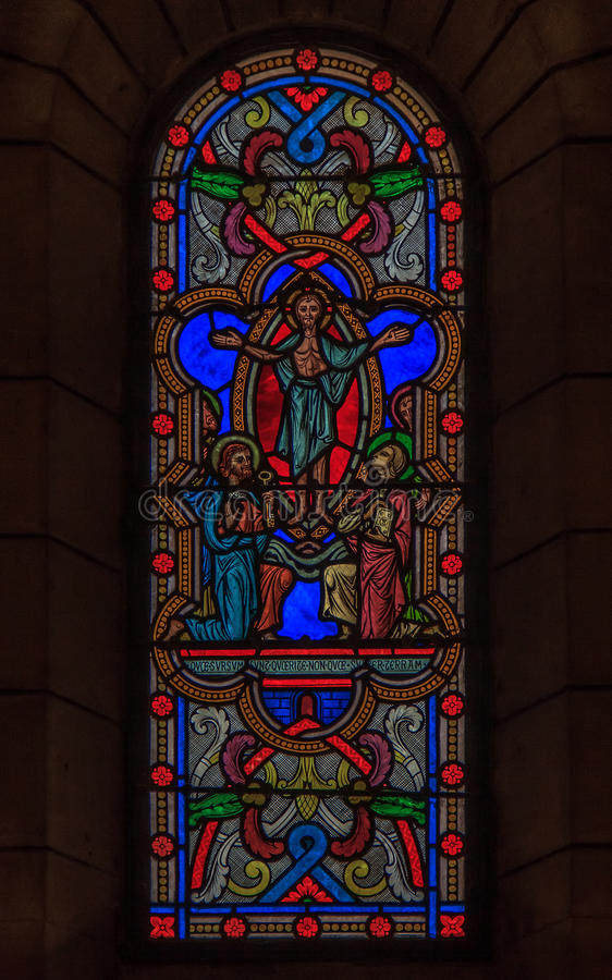 Stained Glass in Saint Nicholas Cathedral Monaco Ville. Stained glass window in the Saint Nicholas Cathedral in Monaco Ville, Monaco; romanesque Catholic royalty free stock images