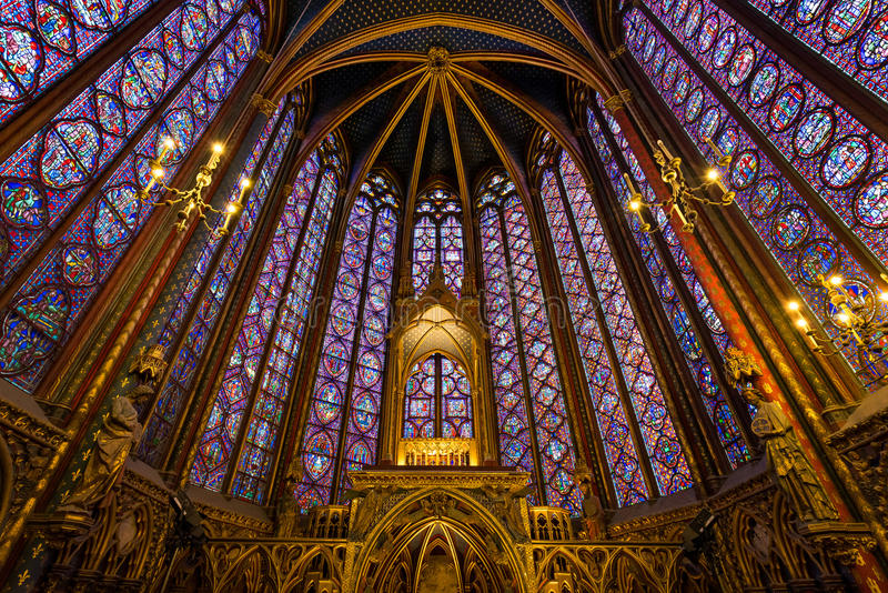 Stained Glass, Sainte Chapelle Interior, Ile de la Cite, Paris. Sainte Chapelle (Holy Chapel). View of the upper chapel and the impressive stained glass work royalty free stock image