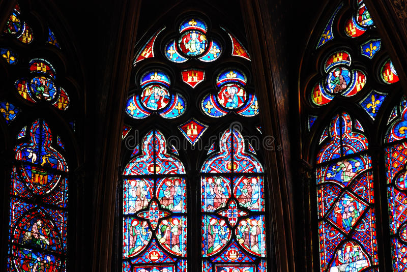 Stained glass in Sainte Chapelle Paris royalty free stock image