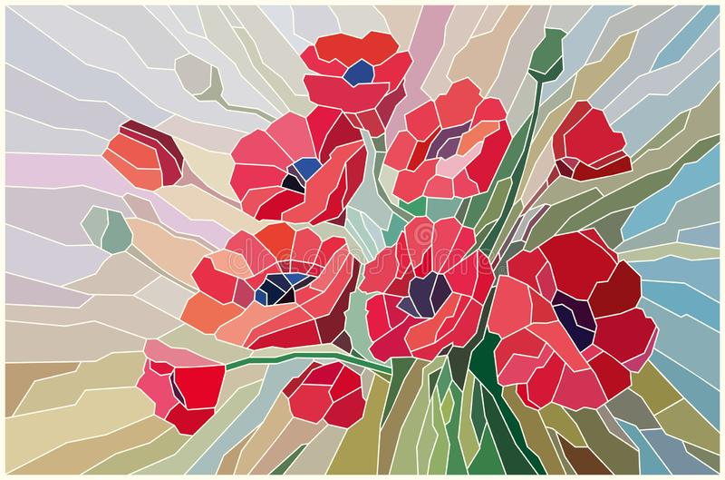 Stained glass scarlet poppies on a beige background stock illustration