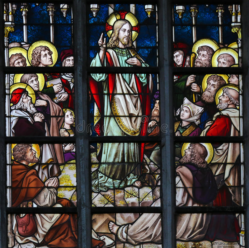 Stained Glass - Sermon on the Mount. Stained Glass window in St Gummarus Church in Lier, Belgium, depicting the Sermon on the Mount stock photo