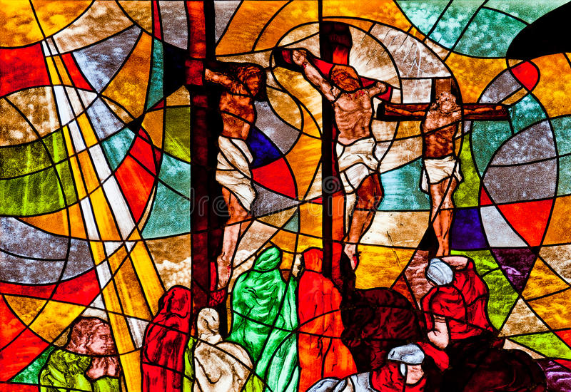 Stained glass showing Jesus crucifixion. Stained glass showing Jesus' crucifixion royalty free stock photography