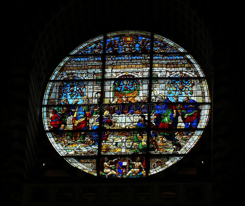 Stained glass in Siena Cathedral - Last Supper stock photography