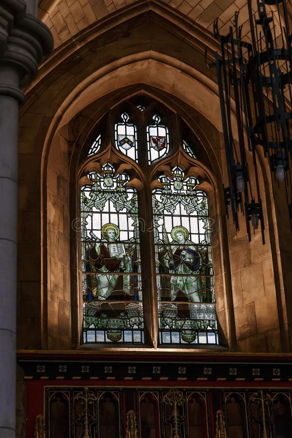 Stained glass in Southwark Cathedral, London stock photo