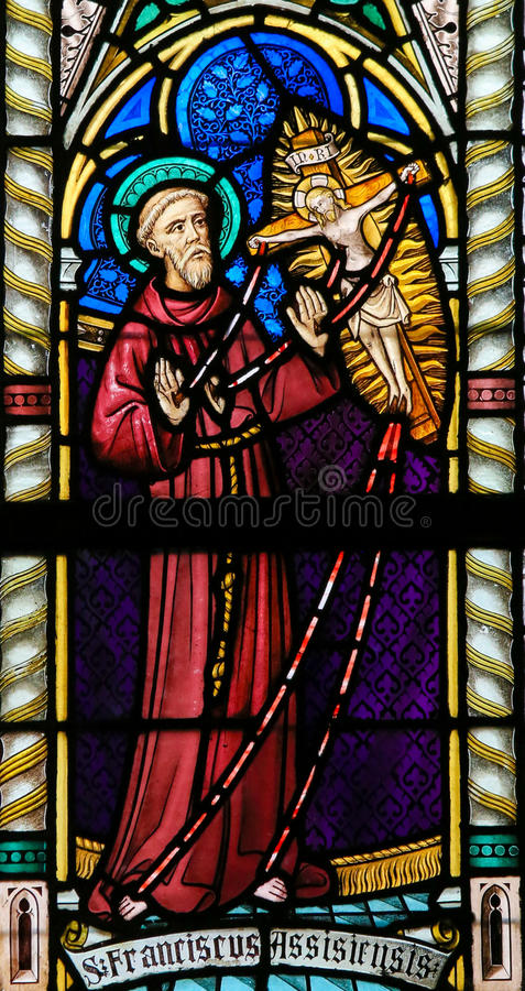 Stained Glass - St Francis of Assisi. Stained Glass window in St Gummarus Church in Lier, Belgium, depicting Saint Francis stock photos