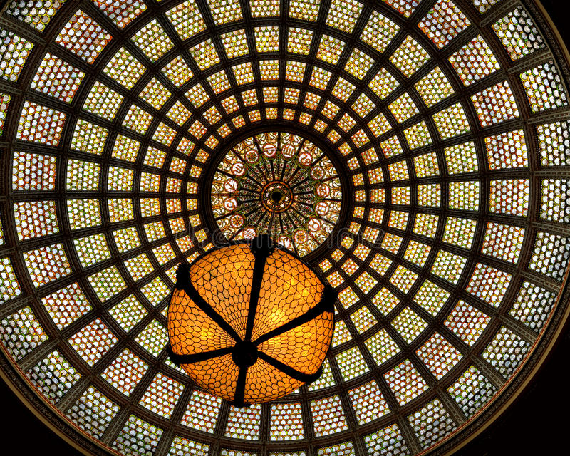 Stained glass Tiffany dome royalty free stock photo