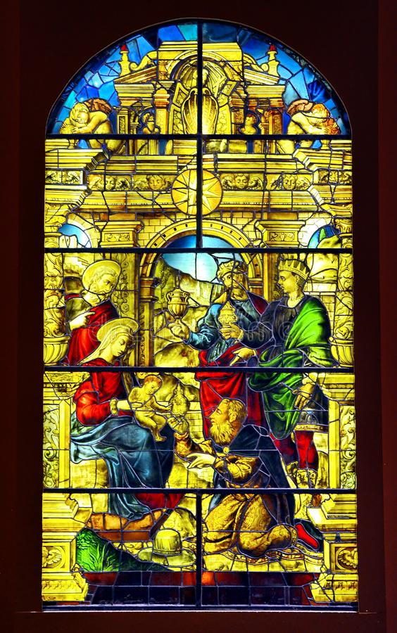 Stained Glass Window in Toledo. Stained Glass Scene in Toledo, Spain stock photo