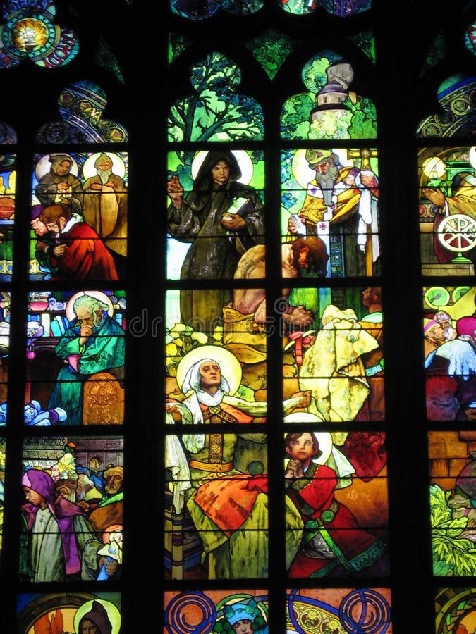 Stained-glass van Alfons Mucha's   stock afbeelding
