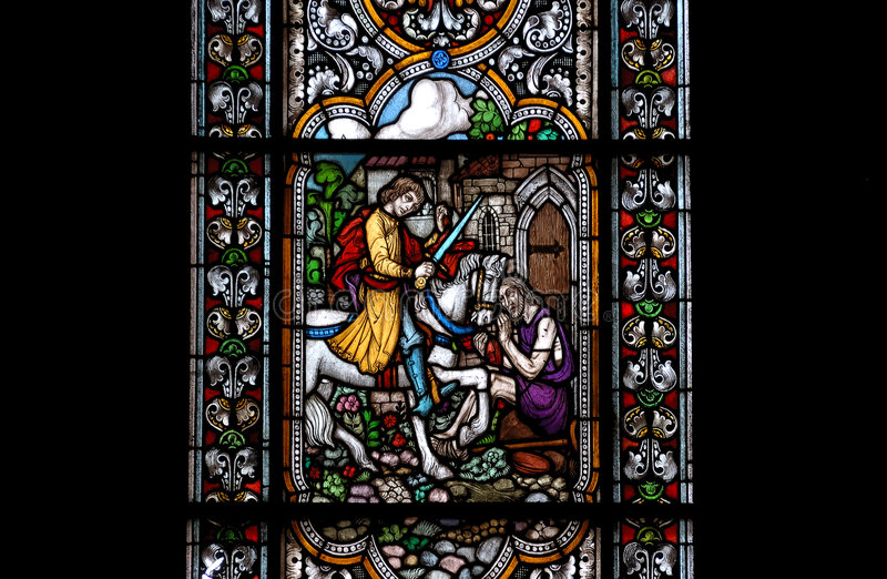 Stained-glass venster stock afbeelding