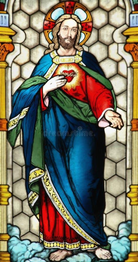 Stained-glass venster van Jesus stock afbeelding
