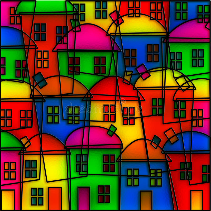 Stained Glass Village royalty free illustration