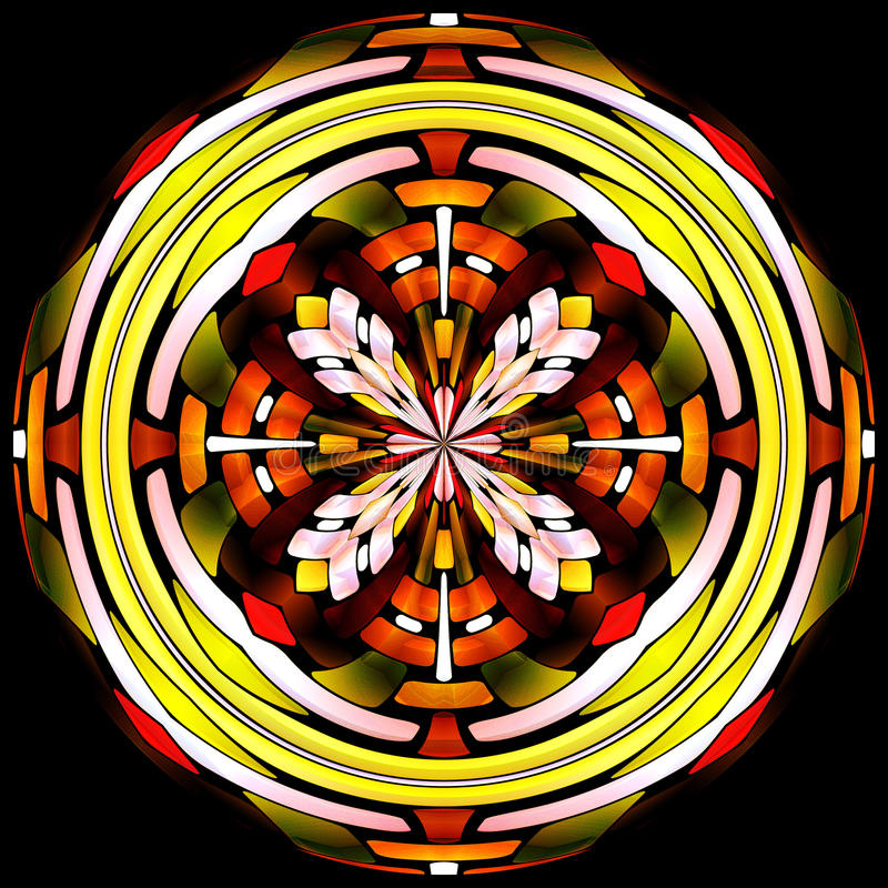 Stained glass vitrage with floral pattern royalty free stock photography