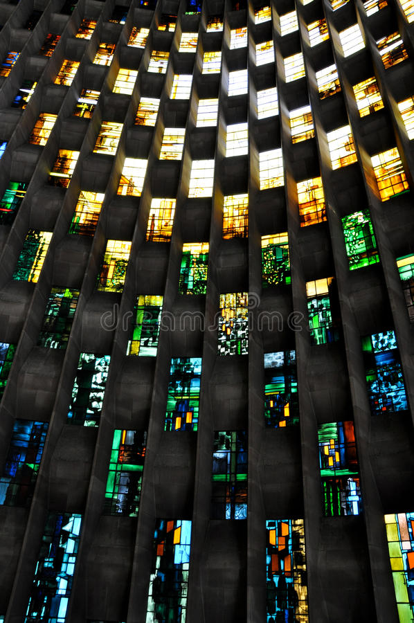 Stained glass wall, Coventry Cathedral. Stained glass windows in Coventry Cathedral stock photography