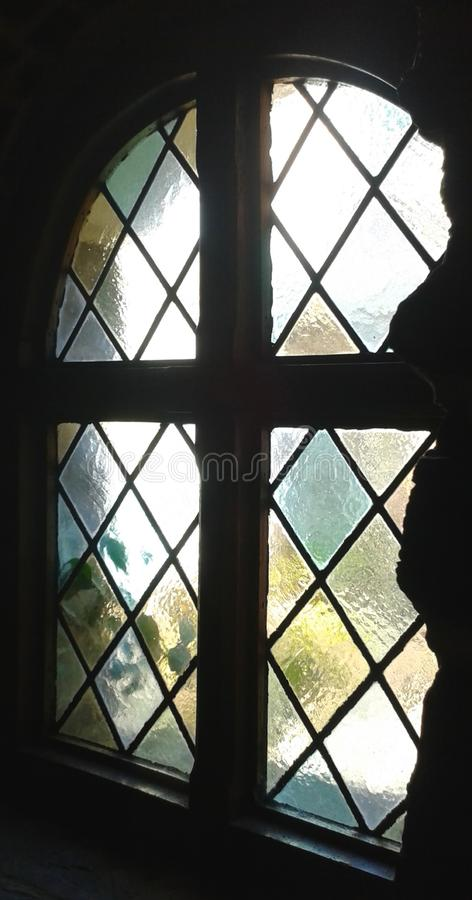 Stained glass widow, England stock photos