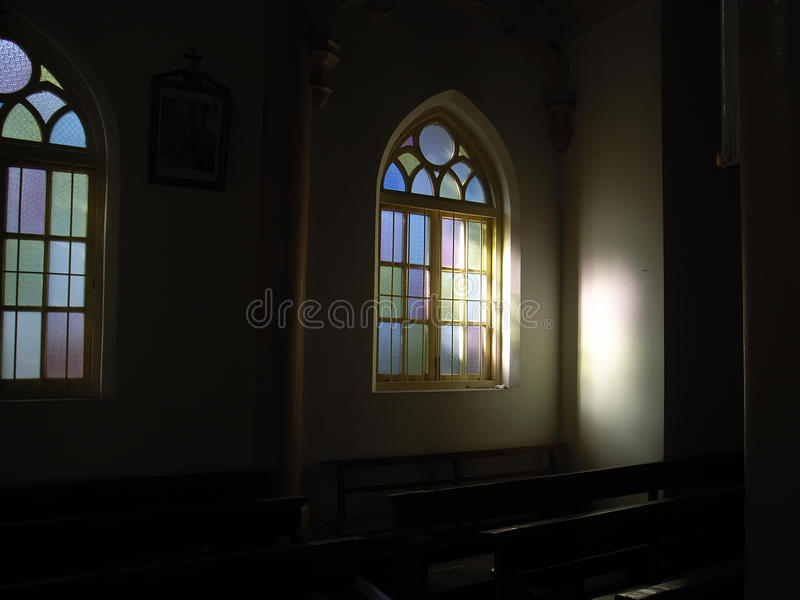 Stained glass window. S in church stock image