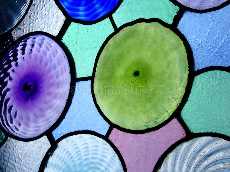 Stained Glass Window. Circular stained glass at Casa Batllo, Barcelona stock photo