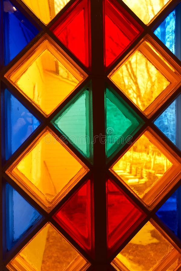 Stained-glass window. Close-up multicolored stained-glass window backgrounds royalty free stock photos