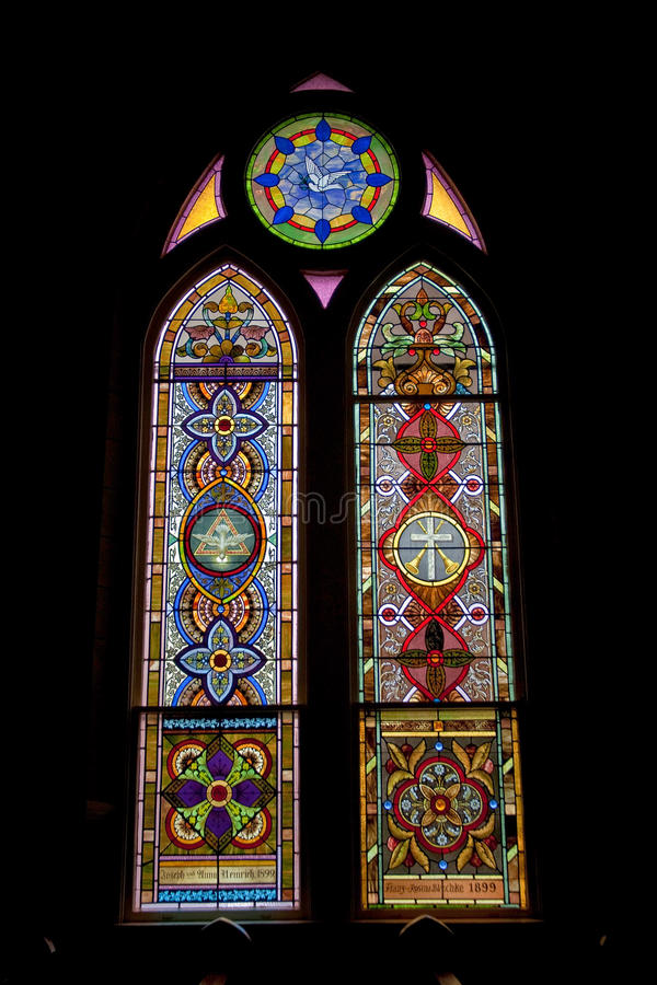 Stained glass window. In historic Catholic church stock photo
