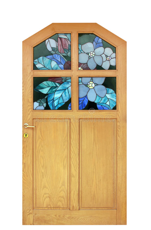Stained-glass window. Wooden door with a flower stained-glass window stock image