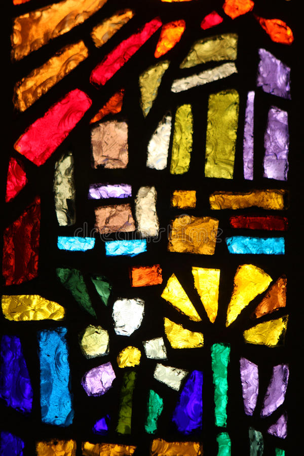 Stained glass window. At the Basilica of the annunciation, Nazareth, Israel royalty free stock photo