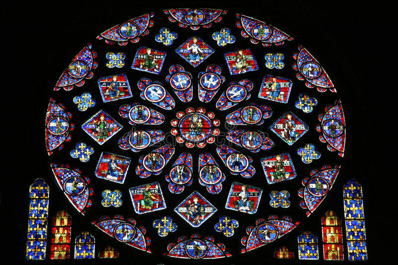 Stained glass window. Rose stained glass window in Notre Dame cathedral, Chartres, France stock image