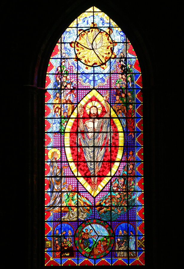 Stained-glass window. Window of the zamora cathedral in michoacan, mexico royalty free stock images