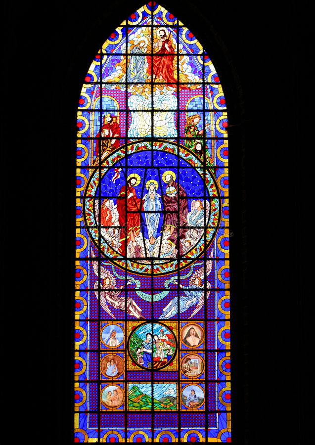 Stained-glass window. Window of the zamora cathedral in michoacan, mexico royalty free stock photography