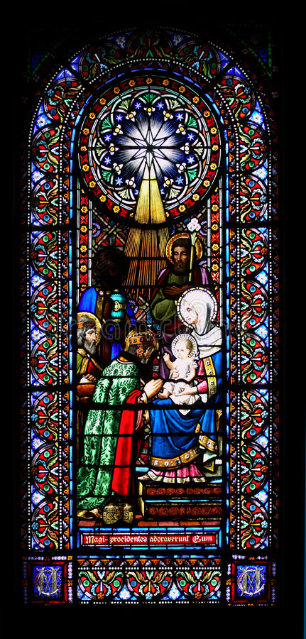 Stained-glass window. The stained-glass church window royalty free stock photo